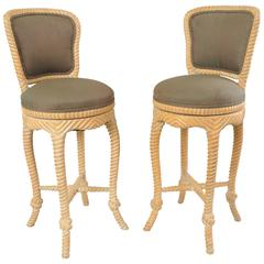 Pair of Vintage Italian Carved Wood Rope and Tassel Swivel Bar Stools Chairs