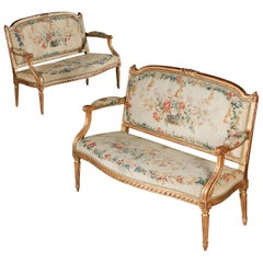 Pair 18th Century Neoclassical Louis XVI Marquise Chairs Stamped Pierre Laroque