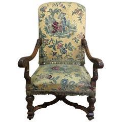 19th Century Walnut Louis XIV Armchair