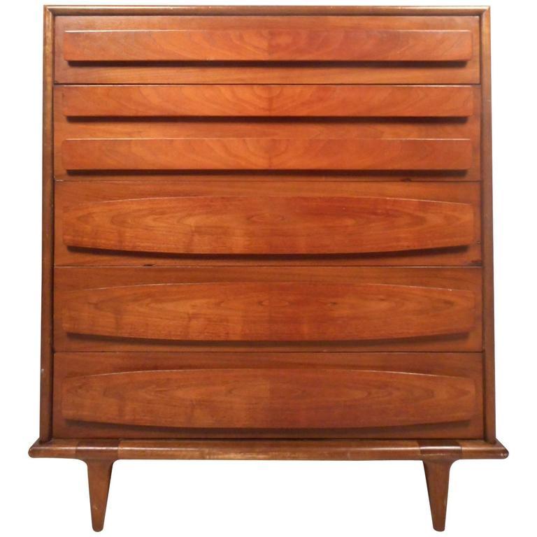 Unique Mid-Century Modern High Boy Dresser by American of Martinsville