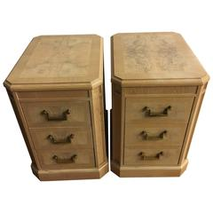 Heritage Burl Side Chests with Brass Pulls, a Pair