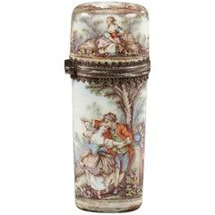 Mid-19th Century Limoges Enamel Flask