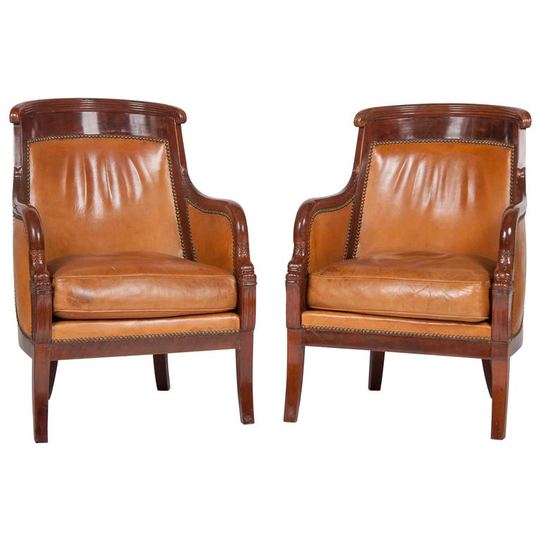 Matched Pair of Mahogany Louis Philippe Bergères For Sale