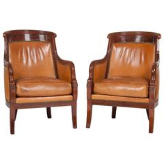 Matched Pair of Mahogany Louis Philippe Bergères