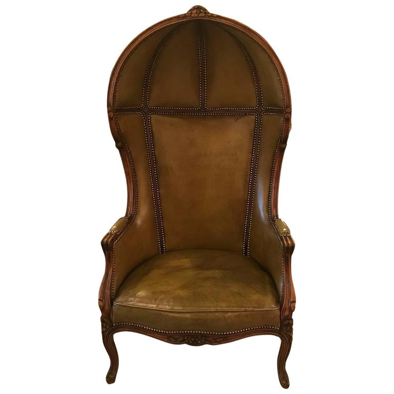 Louis XV Style Leather Porter Chair For Sale