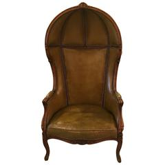 Louis XV Style Leather Porter Chair