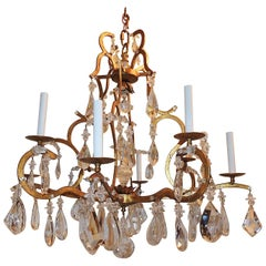Beautiful French Gilt Bagues Eight-Arm Transitional Crystal Jansen Chandelier
