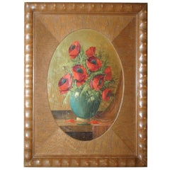 1920s Painting on Wood Poppy Bouquet in Vase in Art Deco Passe Partout Frame
