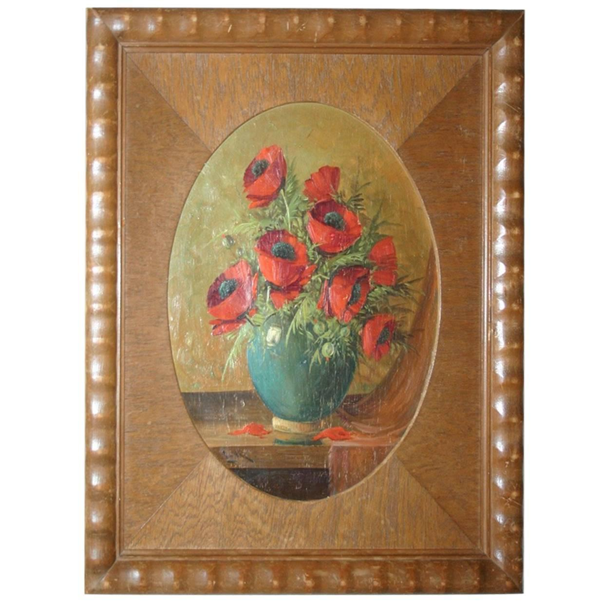 French art deco signed painting on panel tropical birds for sale 1920s painting on wood poppy bouquet in vase in art deco passe partout frame reviewsmspy