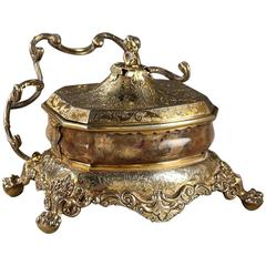 20th Century English Silver-Gilt and Agate Inkstand