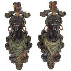 Pair of Venetian Wall Brackets in Blackamoor Figure Form