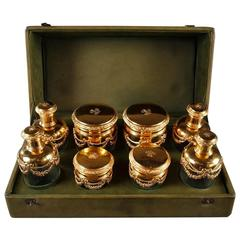 20th Century Vanity Set in Silver-Gilt and Crystal, Signed Keller