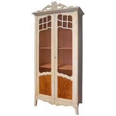 French Art Nouveau Hand-Carved and Painted Cupboard / Wardrobe / Display Cabinet