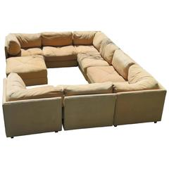 Huge Milo Baughman Style Ten-Piece Section Sofa Pit Mid-Century Modern Selig