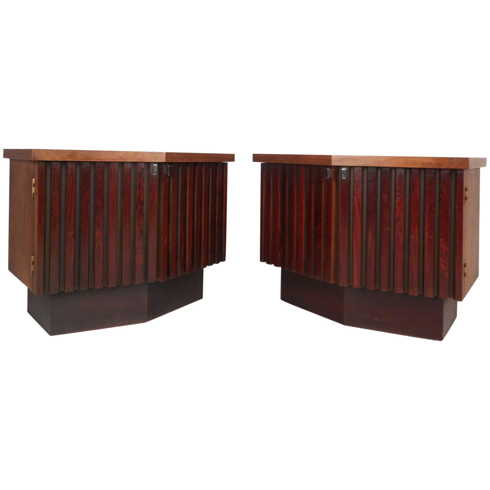 Mid-Century Modern Rosewood and Walnut Nightstands