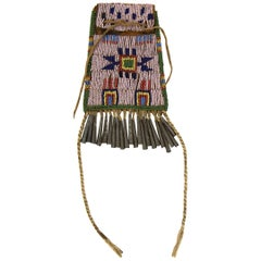 Antique Native American Beaded Strike-A-light Bag, Arapaho, 19th Century