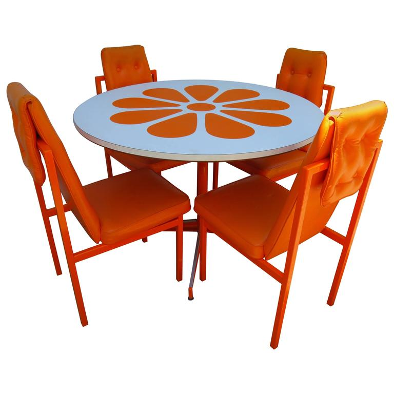 Fun Orange Slice 1960s Dining Table Four Chairs Probber Style Mid Century  Modern For Sale