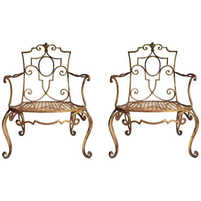 Pair of Jean Charles Moreux Gilt Iron Lounge Chairs