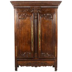 "Antique French Hand-Carved ""Marriage"" Armoire in Oak and Brass, 19th Century"