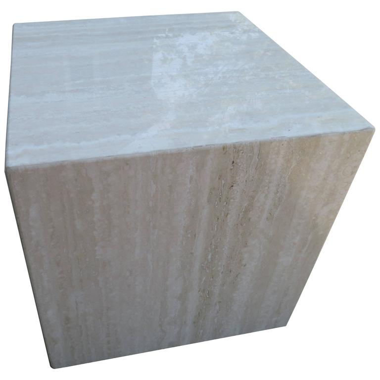 Fine Gorgeous Travertine Cube Side End Table Pedestal Mid Century Modern Download Free Architecture Designs Remcamadebymaigaardcom