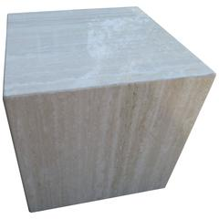 Gorgeous Travertine Cube Side End Table Pedestal, Mid-Century Modern