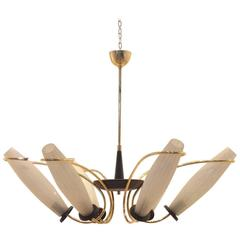 Mid-Century Italian Stilnovo Style Six Suspended Etched Glass & Brass Chandelier