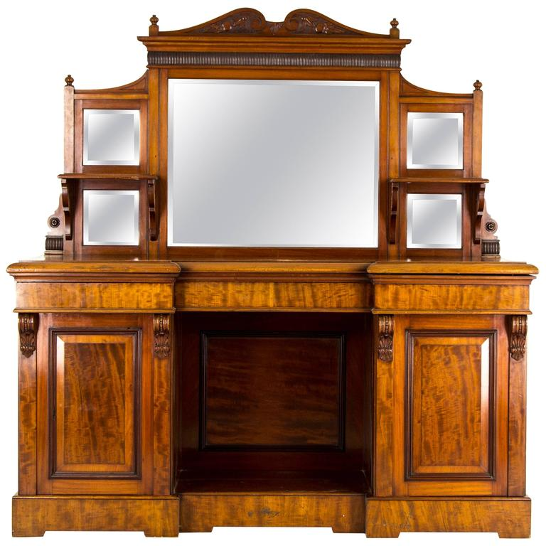 Scottish Victorian Antique Mahogany Sideboard, Buffet, Inverted Mirror Back  For Sale