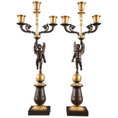 Pair of Early 19th Century Candelabras in Gilded and Patinated Bronze