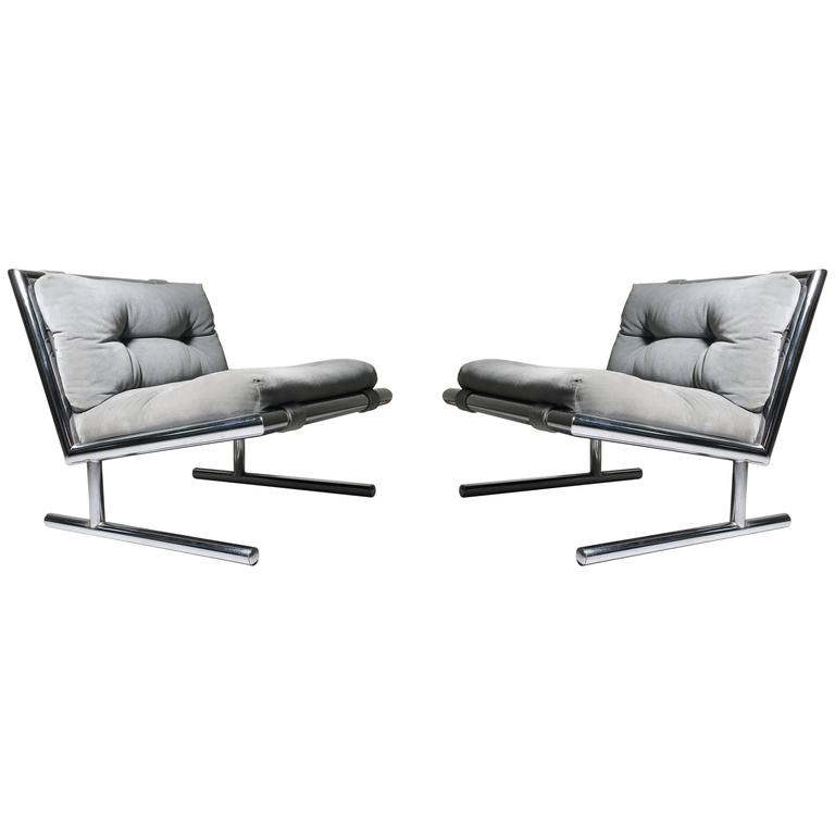 Pair of Vintage Sled Base Chrome Lounges Attributed to Milo Baughman