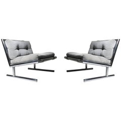 Pair of Vintage Sled Base Chrome Lounges by Arthur Umanoff for Directional