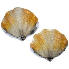 Art Deco English Shell Wall Light Sconces