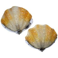 Art Deco English Shell Wall Light Sconces