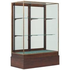 Victorian Style Bronze & Mahogany Display Cabinet, England, circa 1920