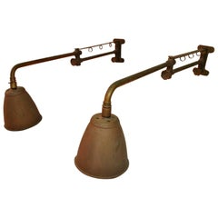 Rare Pair of Industrial Adjustable Sconces