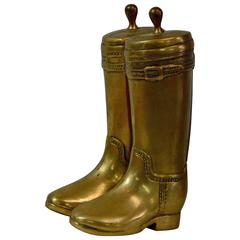 Mid-20th Century Solid Brass Boot Bookends