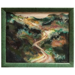"Charming Painting of a French Mountain Village Road Signed ""David"""