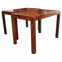 Pair Of Baughman Rosewood And Chrome Mid Century Modern End Tables