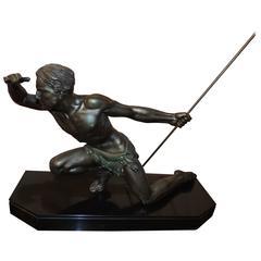 Art Deco Spear Hunter Sculpture