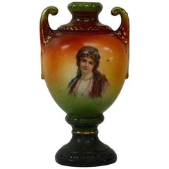 Austrian Portrait Vase with Lady