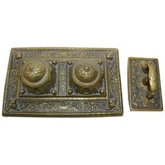 Victorian Bronze English Inkwell Set with Rocking Blotter