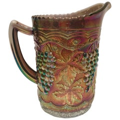 "Antique Art Nouveau American Art Glass Iridescent Raised ""Grapes"" Pitcher."