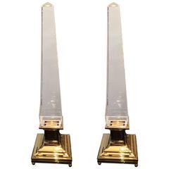 Pair of Big Obelisk Crystal Lamps