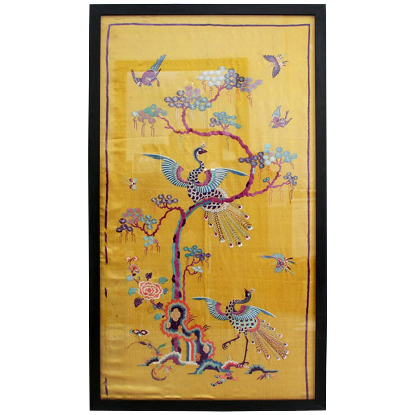 Three Pairs of Framed Antique Japanese Silk Obi Wall Panels For Sale ...