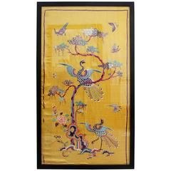 Rare 19th Century Yellow Silk Chinese Embroidered Panels with Phoenix & Foliage