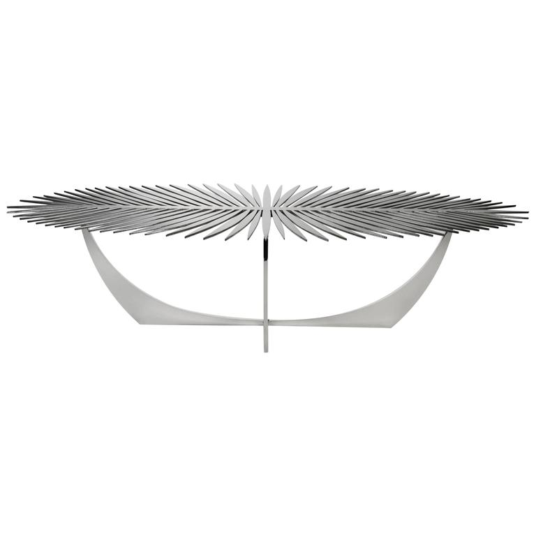 Double Frond Coffee Table in Stainless Steel by Christopher Kreiling For Sale