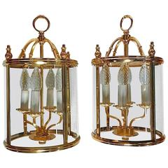 Signed Italian Pair Gilt Brass Glass Neoclassical Lanterns Lights by Sciolari