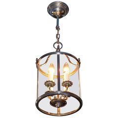 Signed Silvered Brass Neoclassical Candelabra Lantern Lamp by Gaetano Sciolari
