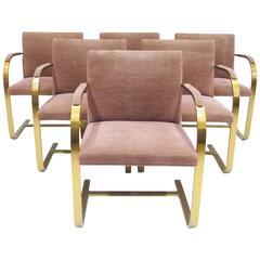 Set of Six Brueton Solid Brass Armchairs