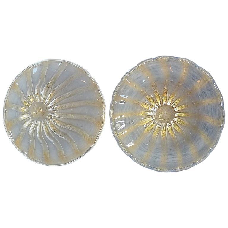 Pair Golden Seguso Flush Mounts Ceiling Lights Murano Art Glass Gilt Brass