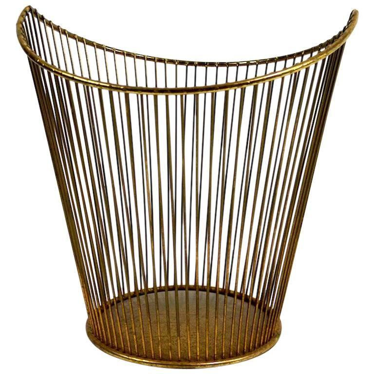 Glam Wire Rod Trash Waste Can At 1stdibs